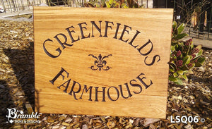 House Sign - Extra Large Square - 500 x 400mm - Bramble Signs Engraved Wall Mounted & Freestanding Oak House Signs, Plaques, Nameplates and Wooden Gifts