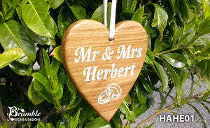 Large Oak Hanging Heart - 210 x 185mm - Bramble Signs Engraved Wall Mounted & Freestanding Oak House Signs, Plaques, Nameplates and Wooden Gifts