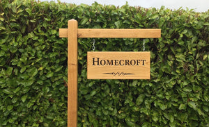 Gallows Bracket and Large Double Sided Sign - Bramble Signs Engraved Wall Mounted & Freestanding Oak House Signs, Plaques, Nameplates and Wooden Gifts