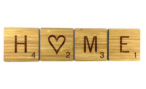 Stunning Engraved Novelty Sustainable Bamboo Scrabble Tiles Wall Art Decor