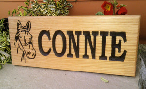 Stable Sign - Small - 265 x 110mm - Bramble Signs Engraved Wall Mounted & Freestanding Oak House Signs, Plaques, Nameplates and Wooden Gifts