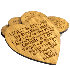 House Rules Love Shaped Drinks Coasters Family