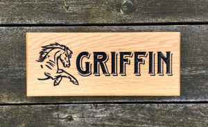 Griffin Horse Running Engraved Stable Sign