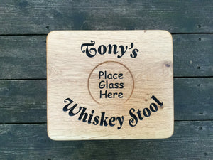 Solid Oak Engraved Drinks Whiskey Foot Step Stool Traditional Milking Stool