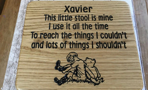 Xavier childs stool with poem and winnie the pooh engraved