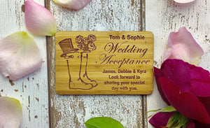 Wedding Acceptance Eco Friendly Sustainable Bamboo Material RSVP CARD