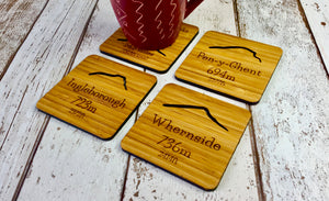 Bamboo Drinks Coaster Set of 4 Yorkshire Dales Three Peaks Challenge Engravings