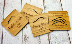 Yorkshire Dales Three Peaks Solid Bamboo Drinks Coasters Set