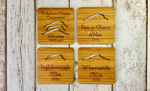 Bamboo Drinks Coasters Set Themed After The Three Peaks of the Yorkshire Dales