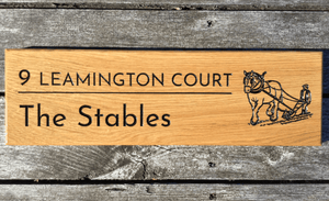 9 Leamington Court Number House Sign with Work Horse pulling Farm Machinery Engraved into Solid Oak