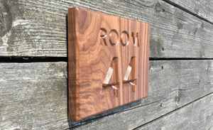 Room 44 Room Number Sign Natural Walnut Sign