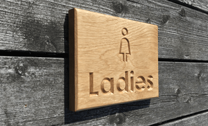 Bathroom, Toilet, Restroom Solid Oak Signs