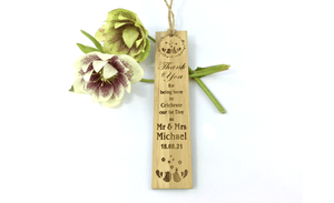 Love Birds Wedding Bookmark Thanks For Attending Keepsake