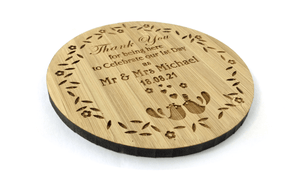 Love Birds Solid Bamboo Drinks Coaster Wedding Keepsake