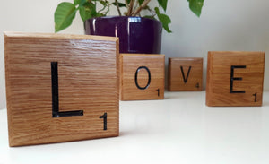 Giant Novelty Solid Oak Scrabble Letters Wall Art - Bramble Signs Engraved Wall Mounted & Freestanding Oak House Signs, Plaques, Nameplates and Wooden Gifts
