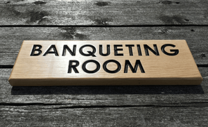 Solid Oak Rectangle Hospitalities Wooden Plaque Sign, Hotels, Restaurant, Guest House