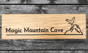 Magic Mountain Cave Eagle and Mountain Engravings on 500 x 110mm Solid Oak House Sign