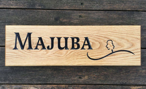 Majuba Wooden House Sign 50cm x 11cm Made From Solid Oak
