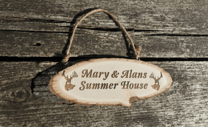 Rustic Waney Edge Timber Wood Slice Hanging Sign 240 x 75 With Bark