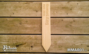 Memorial & Commemorative Plaques - Marker Stake - 110 x 650mm - Bramble Signs Engraved Wall Mounted & Freestanding Oak House Signs, Plaques, Nameplates and Wooden Gifts