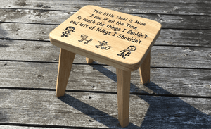 Solid Oak Wooden Stool Engraved With Childrens Poem And Images of family