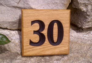 Number Sign - Small Square - 110 x 110mm - Bramble Signs Engraved Wall Mounted & Freestanding Oak House Signs, Plaques, Nameplates and Wooden Gifts