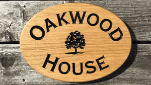 Oak wood house sign with Oak Tree design