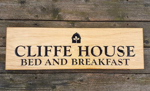 House Sign - Extra Extra Large - 720 x 220mm - Bramble Signs Engraved Wall Mounted & Freestanding Oak House Signs, Plaques, Nameplates and Wooden Gifts FONT: GOUDYOLD