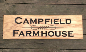 House Sign - Extra Extra Large - 720 x 220mm - Bramble Signs Engraved Wall Mounted & Freestanding Oak House Signs, Plaques, Nameplates and Wooden Gifts FONT: COPPERPLATE