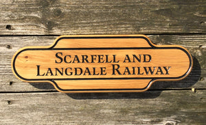 Scarfell And Langdale Railway Station Shaped Solid Oak House Sign