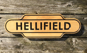 Hellifield Shaped traditional Train Station Solid Oak Sign