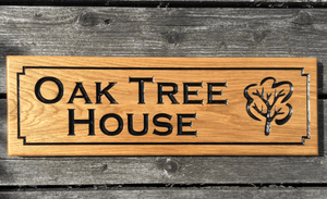 Oak Tree House with engraving of Oak tree on Solid Oak Timber Sign