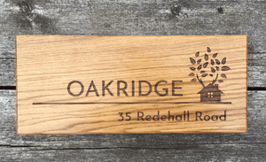 500x150mm OAKRIDGE Long Wide Solid Oak Wooden House sign for farms, mansions and Manors