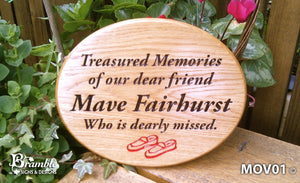 Memorial & Commemorative Plaques - Small Oval - 250 x 200mm - Bramble Signs Engraved Wall Mounted & Freestanding Oak House Signs, Plaques, Nameplates and Wooden Gifts
