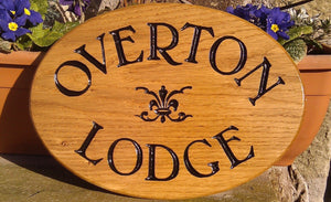 Shaped Sign - Oval - 280 x 200mm - Bramble Signs Engraved Wall Mounted & Freestanding Oak House Signs, Plaques, Nameplates and Wooden Gifts