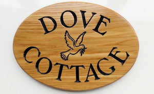 Shaped Sign - Large Oval - 350 x 250mm - Bramble Signs Engraved Wall Mounted & Freestanding Oak House Signs, Plaques, Nameplates and Wooden Gifts