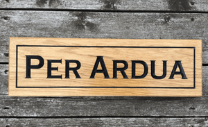 Per Ardua Solid Prime Grade Oak House Sign With Painted Border