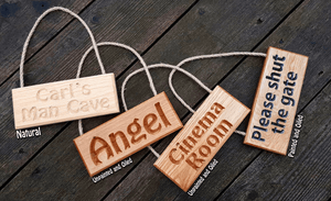 Hanging Dinky Signs in all 3 Finishes. Natural Finish, Oiled Finish, Oiled and Painted Finish FONT: HOBO