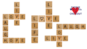 Positivity Giant Novelty Solid Oak Scrabble Letters Wall Art