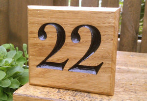 Number Sign - Square - 150 x 150mm - Bramble Signs Engraved Wall Mounted & Freestanding Oak House Signs, Plaques, Nameplates and Wooden Gifts