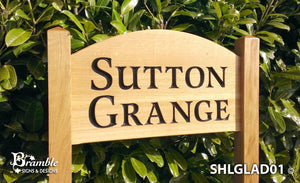 Ladder Sign - Extra Large Shaped - 720 x 400mm - Posts 70 x 70 x 1520mm - Bramble Signs Engraved Wall Mounted & Freestanding Oak House Signs, Plaques, Nameplates and Wooden Gifts