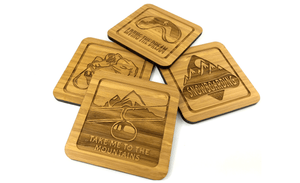 Snowboarding Drinks Coasters Set Made From Sustainable Eco Friendly Bamboo