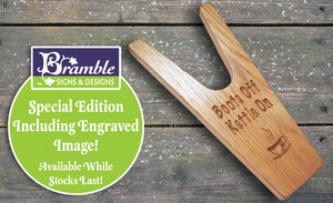 Engraved Boot Jack Solid Oak Muddy Boot / Welly Remover can be personalised - Bramble Signs Engraved Wall Mounted & Freestanding Oak House Signs, Plaques, Nameplates and Wooden Gifts