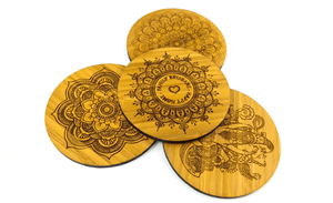 Mandala Art Inspired Bamboo Drinks Coasters set of four