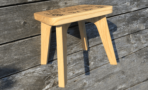 Solid Oak Child's Stool - Small Personalised Milking Stool - Bramble Signs Engraved Wall Mounted & Freestanding Oak House Signs, Plaques, Nameplates and Wooden Gifts