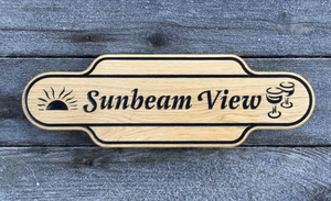 Sunbeam View Station Shaped House Sign
