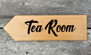 Tea Room Sign in New Shine Font pointing Left