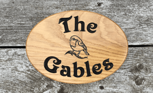 The Gables Oval Solid Oak House Signs With Robin Engraving
