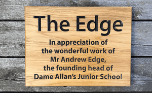 The Edge 400x300mm Solid Oak Wooden House Sign Memorial Plaque FONT: ARIAL
