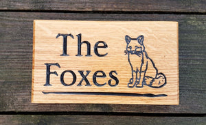 Extra Small House Plaque engraved with the foxes and fox image FONT: EDWARDIAN
